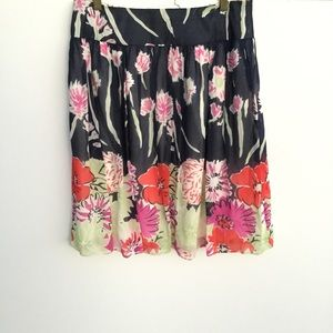 St John Collection Lined Floral Silk Skirt 6